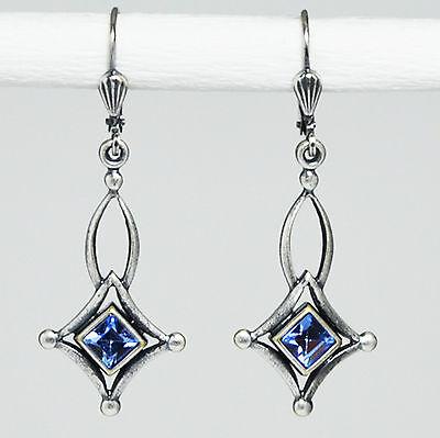 Grevenkämper Ohrringe Swarovski Kristall Carrée Vintage blau Light Sapphire