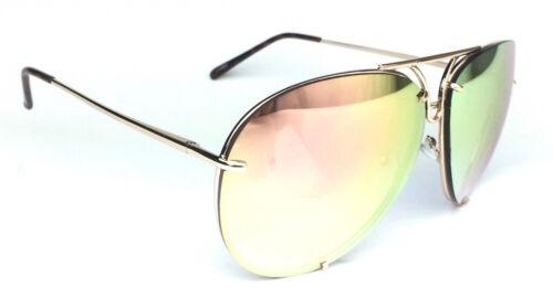 Porsh AVIATOR Large Metal Wire Twirl Frame Mirror Reflective Lenses Sunglasses