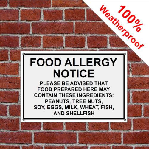 Food Allergy Warning notice sign or self adhesive vinyl sticker 3216