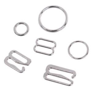 100-Silver-Metal-Bra-Strap-Adjuster-Slider-Hooks-O-Ring-Lingerie-Sewing-Craft-KW