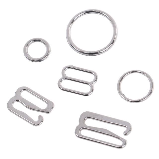 100 Silver metal bra strap adjuster slider/hooks/o ring lingerie sewing FLA