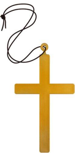 Unisex Gold Cross Cord Priest Vampire Monk Nun Necklace Halloween Fancy Dress