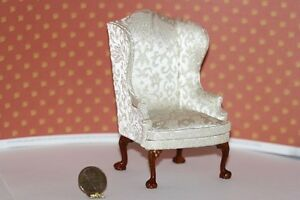 Dollhouse Miniature Wing Chair in Damask Silk