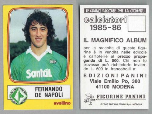 FIGURINA CALCIATORI PANINI 1985//86 AVELLINO NUOVA//NEW N.26 DE NAPOLI