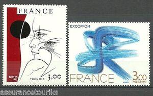 TABLEAUX-d-039-ART-1977-YT-1950-a-1951-TIMBRES-NEUFS-MNH-LUXE