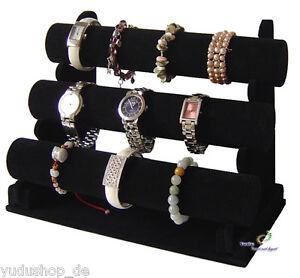 3er-Schmuckstaender-Schmuckhalter-fuer-Uhren-Armband-Samt