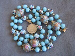 Murano Glass  Necklace Light Blue