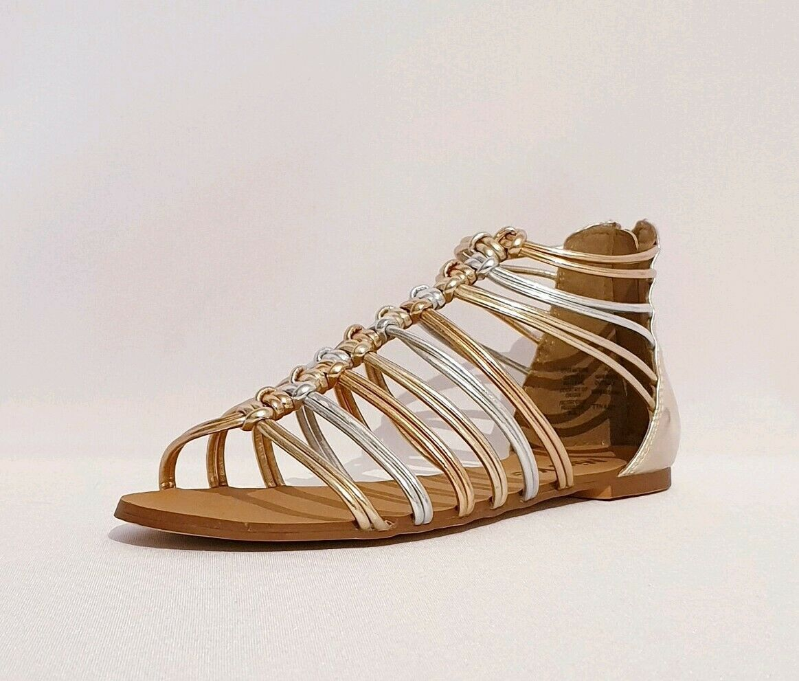 KURT GEIGER MISS KG Gold Silber METALLIC GLADIATOR STRAPPED SANDALS damen LADIE