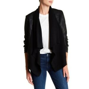 Blank-NYC-Size-Small-S-Drape-Front-Jacket-Open-Waterfall-Faux-Leather-Knit-Moto