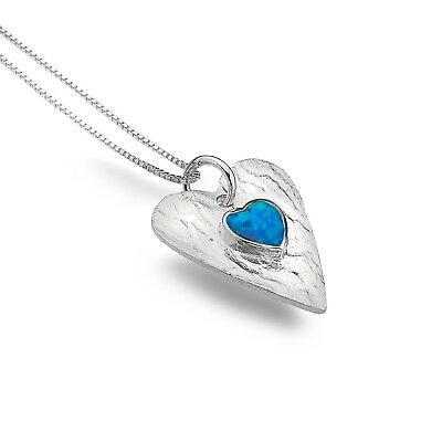 Ehrlich Blue Opal Heart Pendant Sterling Silver Necklace 925 Hallmark All Chain Lengths