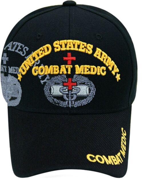 US Army COMBAT MEDIC Ball Cap EMS EMT 68W 91W 91A Infantry Airborne Hat BLACK