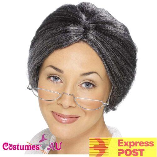 Adult Old Lady Grandma Grey Granny Bun Wig Grandmother Costume Accessories Wigs
