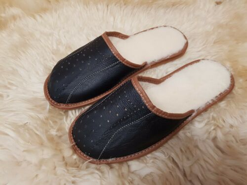 Mens Gents Black Wool Leather Slippers Slip On Shoes  6 7 8 9 10 11 12 FREE P/&P