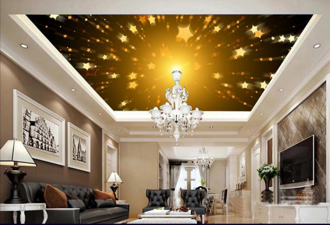 3D Golden Stars 743 Ceiling WallPaper Murals Wall Print Decal Deco AJ WALLPAPER