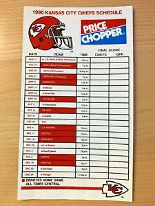 1990 Kansas City Chiefs Schedule Magnet Price Chopper Ebay