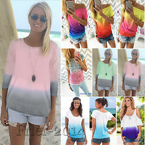 Womens-Gradient-T-shirt-Short-Sleeve-Summer-Casual-Loose-Tie-Dye-Blouse-Tee-Tops