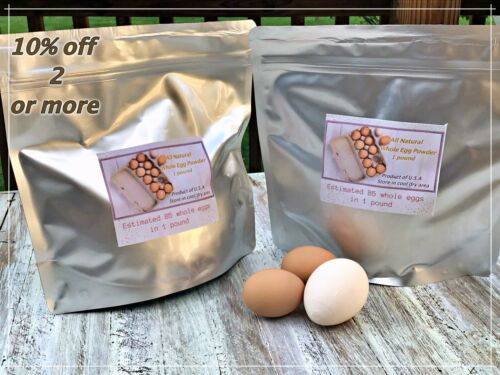 Whole Powdered Eggs 2LB /& Single Serving*Lot*Mylar Bag*Survival*Hunting*Camping*