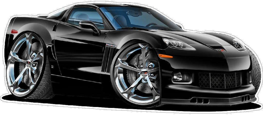 Chevy Corvette Grand Sport Cartoon Car Wall Decal Graphics 3 Sizes Any color