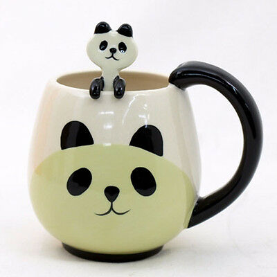 DECOLE Japan CUTE PANDA FACE Ceramic Tea Coffee Juice Mug Cup with Spoon Set NEW