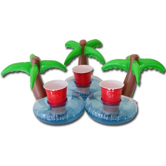 FLOATING PALM ISLAND DRINK BEER KOOZIE HOLDER 3 RAFTS