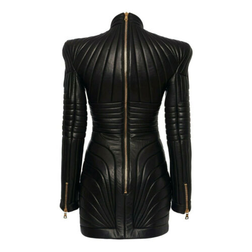 Women Black leather steampunk dress leather Gothic PUNK leather Quilted dress