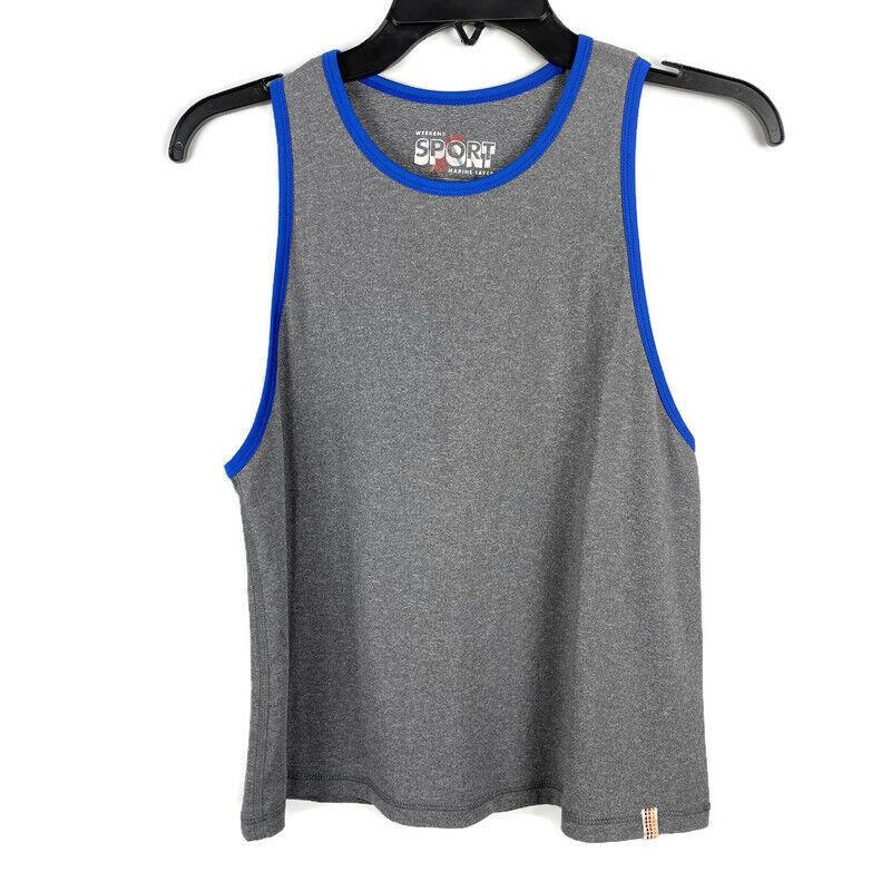 Marine Layer Weekend Sport Liza Tank Top Large Gray Blue Sleeveless Muscle Tee L
