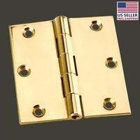 Door Hinges Bright Solid Brass Square Hinge 3.5 X 3.5 | Renovator's Supply
