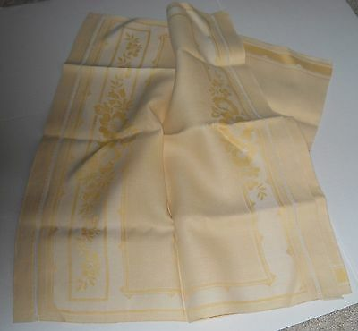Vintage Damask Linen Scarf Buffet Runner Dresser Maize Cotton Reversible 36'