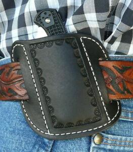 XL-S-Leather-Cross-Draw-Pocket-Knife-Sheath-Spyderco-Benchmade-Ruff-s-Black