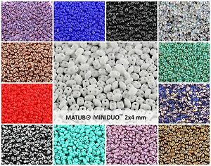 CHOOSE-COLOR-10g-2x4mm-2-hole-MINIDUO-Seed-Beads-Czech-Glass