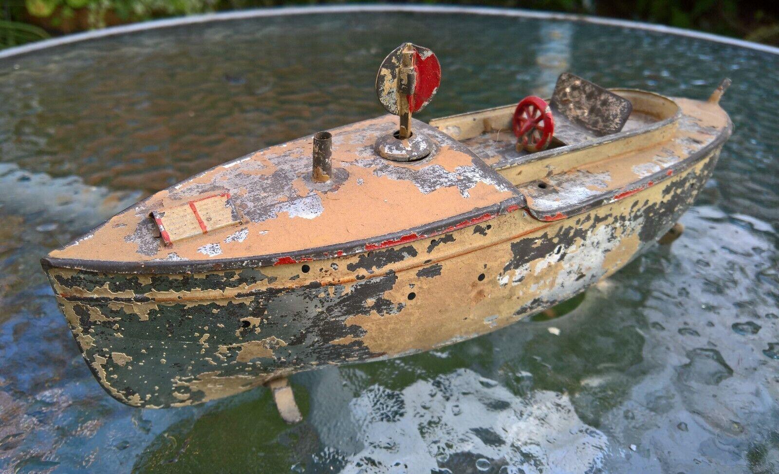 Cocheette mecanismo de relojería lanzamiento barco Works 9.5 pulgadas c1900 bing marklin