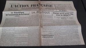 Diario Nacionalista ACCIÓN Francesa 24 Agosto 1934 N º 236 ABE