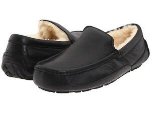 ac188e9d96c Men UGG Ascot Slipper 5379B Black Leather 100% Original Brand New   eBay
