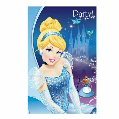 Disney Cinderella Party Invitation Cards Kids Party 6 Invitation With Envelops