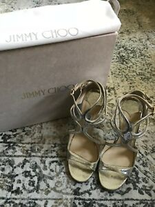e277973e19 Image is loading LANCE-Champagne-Glitter-Leather-JIMMY-CHOO-Sandals
