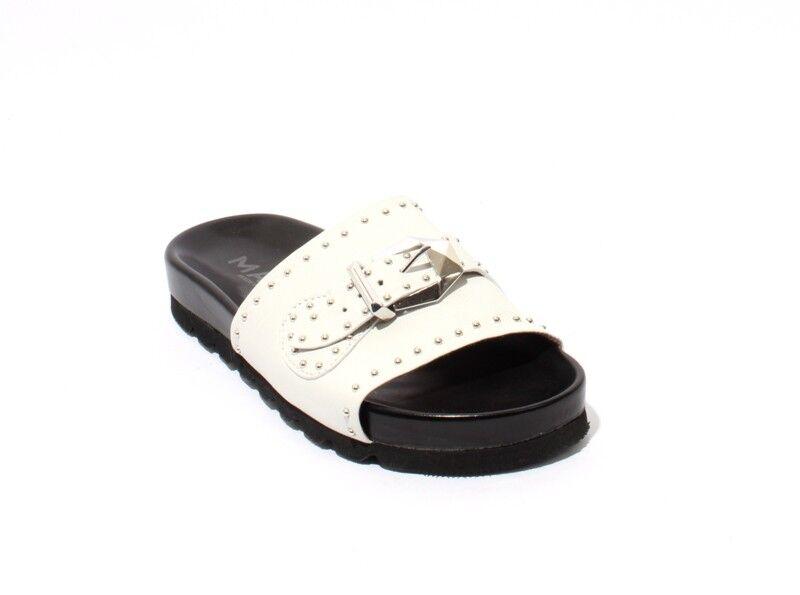 Mally 6200a White Pelle Studded Platform Slides Sandals 41 / US 11