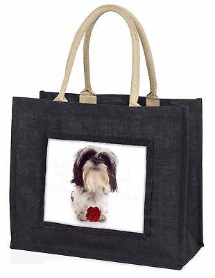 süß SHIH TZU Hund mit rosé große schwarze Einkaufstasche WEIHNACHTEN Prese