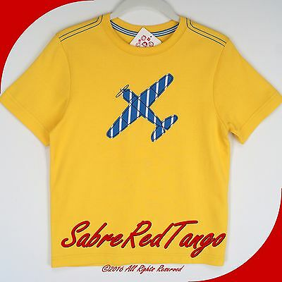 NWT HANNA ANDERSSON GET APPY TEE TOP SHIRT WARM SUN YELLOW AIRPLANE 140 10