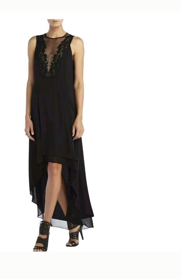 New BCBG maxazria Cassidy Sleevless Lace Yoke hi low Dress schwarz 0 2 4 XS xxs s