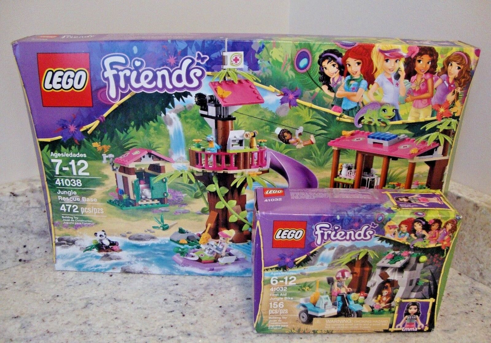 LEGO FRIENDS JUNGLE RESCUE BASE SET  41038 w/ BIKE SET  41032 - Imperfect Boxes