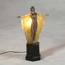 ART DECO NOUVEAU TABLE LAMP ELEGANT LADY FIGURINE 48CM BRONZE FINISH RESIN LAMP