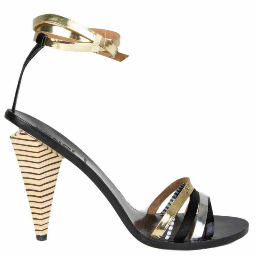 57328 auth FENDI black gold silver Ankle-Strap Sandals shoes 40
