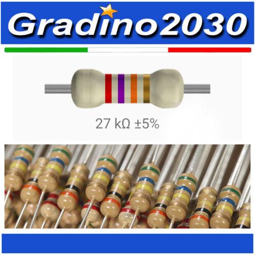 50 Pezzi di Resistenze strato carbone 27 kohm 1//8W 0,125 WATT 5/% Resistor 27k