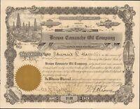{BJSTAMPS} Brown Comanche Oil Company Arizona 1919 Stock Certificate oil wells