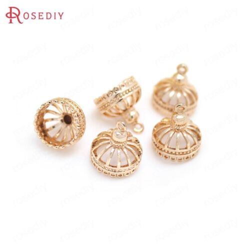 33169 6PCS 13x14MM Quality Champagne Gold Color Brass Tassel Charms Pendants