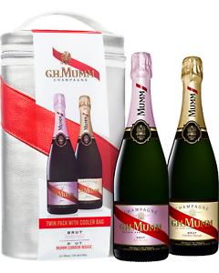 Mumm-Cordon-Rouge-Brut-NV-amp-Rose-Twin-Cooler-Bag-pack-Gift-Pack-Champagne-Wine