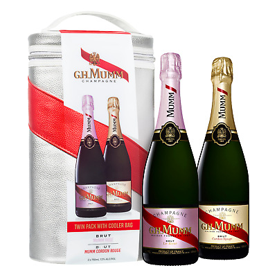 Mumm Cordon Rouge Brut NV & Rose Twin Cooler Bag pack Gift Pack Champagne Wine