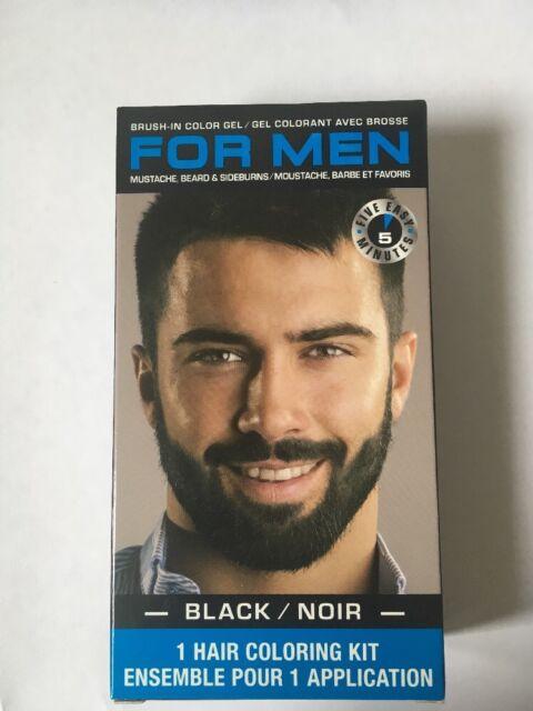 Black for Men Mustache Beard & Sideburns Hair Coloring Kit Brush-in ...