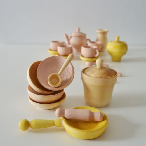 Dishes set Wooden Toy Dishes Wood food play set handiwork hand made