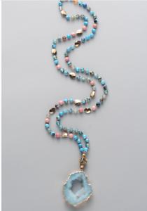 Tibetan Dzi Amp Agate Beaded Necklace Turquoise Geode Beads